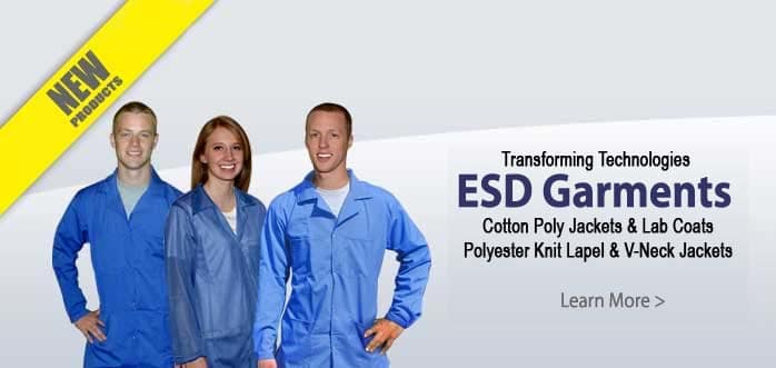 Transforming Technologies ESD Garments Lab Coats Knit Lapel & V-Neck Jackets Click here to learn more