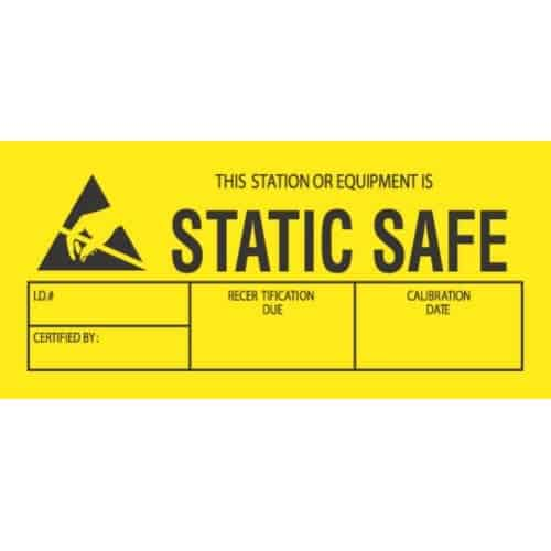 500 Labels Per Roll 1 3//4 x 3 Static Safe Labels//Stickers Black//Yellow 1 Roll